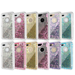 Wholesale Iphone Rugged Bling Case - Bling Liquid Quicksand Transparent Robot Cases For iPhone X 8 7 6 6S Plus Fashion Defender Rugged Clear Hybrid Cover Sumsung Note8 S8 PLUS