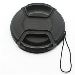 Wholesale Lens Cap Snap - 58MM SLR Camera Lens Cover Black Universal Lens Cap Center Pinch Snap on Cap Cover With Rope for Nikon Canon
