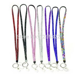 Wholesale custom neck lanyards - Hot sale New Rhinestone Bling Crystal Custom Lanyard ID Badge Cell Phone and Key Holder Universal Lanyards Neck Lanyard Long Straps