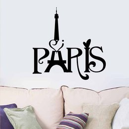 Wholesale Large Paris Wall Decals - Free Shipping Wedding Decorations Stylish Paris Tower PVC Removable Room Decal Art Wall Sticker Home Decor Papel De Parede E5M1 order<$18no