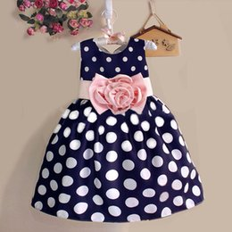 girls polka party dress Promo Codes - 2016 Summer Baby Kids Girls Sleeveless Party Wedding dresses Polka Dot Flower Dress blue white 5 sets lot Children Clothes