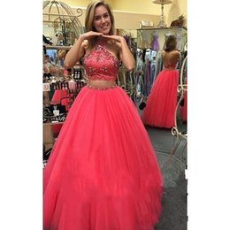 Wholesale Cheap Two Piece Quinceanera Dresses - Two Piece Ball Gown Quinceanera Prom Dresses 2016 For Sweet Sixteen Girls Hot Sale Cheap Crystals Beaded Halter Formal Homecoming Dance Gown