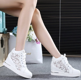 Wholesale High Platform Creepers Shoes - Wholesale-2016 Women Mesh Hollow Elevator Shoes Thick Soled Lace Shoes Woman Platform Wedges Loafers Creepers High Heels Zapatos Mujer