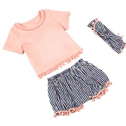 Wholesale Peaches Outfit - Baby Girls Clothes Sets Peach T-shirt with Striped Short Matching Headband Set Striped Girls Boutique Outfit Set