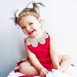 Wholesale Wholesale Christmas Onesies - 2016 Summer New Baby Girl onesies Bodysuits Infant Fashion Red Sleeveless Backless Jumpsuit Overalls Toddler Clothing 0-2T 2047