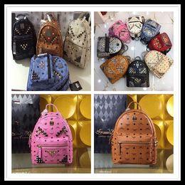 Wholesale Leather Student Bags - Summer New Arrival Fashion Punk Rivet Backpack School Bag Unisex Backpack Student Bag Men Travel STARK BACKPACK