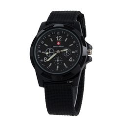 Wholesale Men Wholesale Luxury - Luxury Swiss Military watch Analog SWISS ARMY logo Nylon band Watches TRENDY SPORT MILITARY Wristwatch for MEN watch 6 color