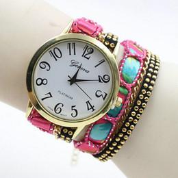 Wholesale Tan Color Belts - Wholesales 2016 New Style Geneva Watch Leather Bracelet Wristwatch Women Quartz Watches Long Chain Watch 7 Colors