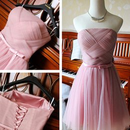 Wholesale Strapless Knee Length Prom Dresses - 2018 Short Pink Bridesmaid Dresses Sexy Strapless A Line Tulle Short Bridesmaid Dresses Party Prom Dresses