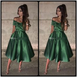 Wholesale Elastic Puffy Sleeves - Elegant Dark Green Short Prom Dresses Off Shoulder Ruched Elastic Satin Tea Length Puffy Short Homecoming Dresses Cocktail Party Dresses