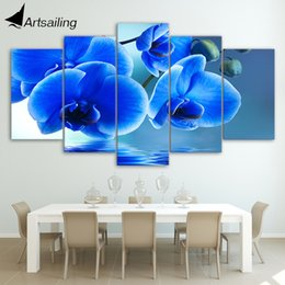 Wholesale Orchids Framed - HD Printed Blue orchid flowers Group Painting Canvas Print room decor print poster picture canvas Free shipping ny-094