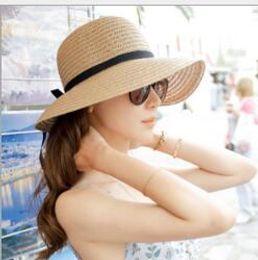 Wholesale Costumes Top Hats - Sun Hat Women Summer Foldable Wide Straw Cap For Women Beach Resort Headwear Brim Caps Top Quality New Fashion Costume Hats