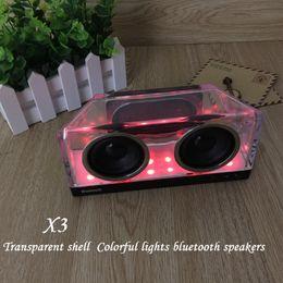 Wholesale Amplifier Music - LED Crystal X3 Bluetooth Speakers Subwoofer Mini Speaker Portable Wireless Mini Bluetooth Speaker Amplifier For Music Outdoor Handfree