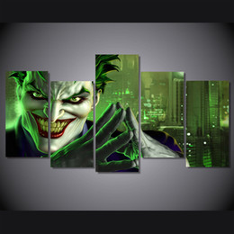 Wholesale Universe Poster - 5 Pcs Set Framed Printed joker dc universe online Painting Canvas Print room decor print poster picture canvas Free shipping ny-4501