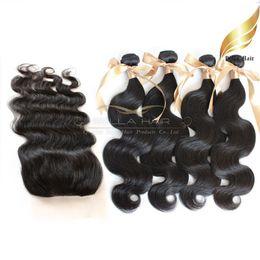 Wholesale Malaysian Closure Full Head - Full Head 5PCS 100% Malaysian Unprocessed Human Hair Weaves With Top Closure 4pcs Hair Weft+1pc Lace Top Closure (4x4)Body Wave Bellahair 7A