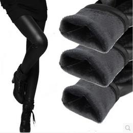 Tejidos de piel sintética online-MÁS TALLA L-XXXL Invierno cálido grueso terciopelo Legging de cuero de la PU Sexy lápiz pantalones tela recubierta Caliente mujeres de la moda Lenguajes