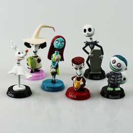 Wholesale Models Cartoon - 6Pcs Set Cartoon Nightmare Before Christmas Lock Sally Zero Barrel Shock Jack PVC Action Figures Toy Collectable Model Dolls