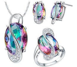 Wholesale Colored Wedding Set - 18k White Gold Plated Wedding Jewelry Sets for Brides 925 Sterling Silver Colored Stud Earrings Ring Necklace Bridal Jewelry Set CX