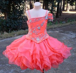 Wholesale Organza Dresses For Children - Coral Ball Gown Girls Pageant Dresses Spaghetti Straps Organza Toddler Children Dresses Short Pageant Dresses For Girls