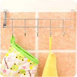 Wholesale Kitchen Cabinet Steel - Metal Hanging Rack Kitchen Door Back Type 5 Linked Home Creative Stainless Steel Hooks Cabinet Hanger Sundries Storage 1 8mh F