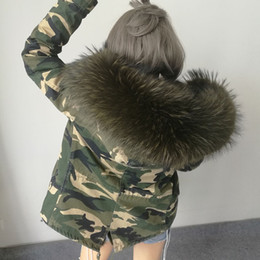 Wholesale New Raccoon Coat - 2017 New Women Winter camouflage Army Green Jacket Coats Thick Parkas Plus Size Real Raccoon Fur Collar Hooded Outwear