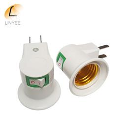 Wholesale Switch Plastic Off - NEW US E27 socket plug with AC 110V-220V ON-OFF switch LED night light bulb lamp socket base holder E27 plug adapter
