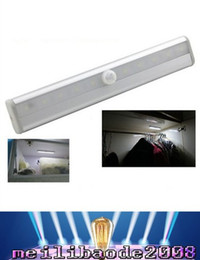 Wholesale Wholesale Wardrobe Closets - 10 LED PIR Infrared Motion Detector Wireless Night Light Kitchen Wardrobe Closet Cabinet lamp tube Bar Stick Anywhere Portable MYY163