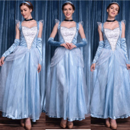 Wholesale Anime Cosplay Gowns - Wholesale-Adult Cinderella Costumes Deluxe Light Blue A-Line Cinderela Cosplay Shiny Gown Cinderella Dress Cosplay Costume