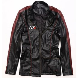 Wholesale Men S Pu Coats - Fall-Game Mass Effect N7 mens leather jackets and coats Male motorcycle jacket boys clothes Coat men cosplay costume Jaqueta De Couro