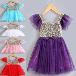Wholesale Tutu Puff - Fashion baby dresses kids pink baby dress for party baby bling sequined tulle dress ruffle sleeve free shipping
