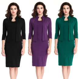 Wholesale Office Fashion Wear - Female Formal Office Work Dress Women Slim Bodycon Dresses Crew Neck Two Piece Pencil Dress Ladies Solid Coat 2017 New Fashion Autumn And