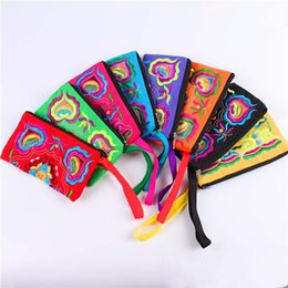 Wholesale Embroidery Wallets - Chinese ethnic embroidery Women's handmade long purse wallet Card package Coin bag Embroidered wallet embroidery bag package