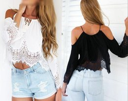 Wholesale Black Lace Shirt Chiffon Blouse - New Sexy Women Casual Boho Lace Off Shoulder Shirt Summer Crop Tank Tops Blouse women long sleeve lace tops