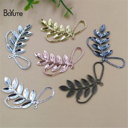 wholesale brass stamping Promo Codes - BoYuTe 50Pcs 7 Colors 47*22MM Metal Brass Filigree Stamping Branch Leaf Pendant Charms for Jewelry Making Jewelry & Accessories