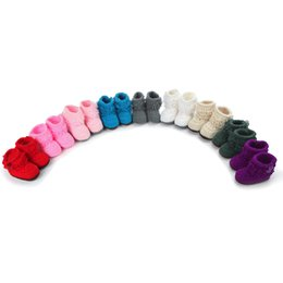 Wholesale Socks Antislip Baby - Wholesale-Baby Toddler soft bottom shoes high boots and socks Pure hand woven wool Crochet counter genuine Antislip Sock Slippers boot