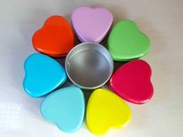 Wholesale Heart Tin Storage Box - Free EMS DHL 420pcs Heart Shape 7*7*3.5cm Tinplat Jewelry Gift Candy Box Earbuds Headphone Earphone Cable Coin Storage Tin Box Purse
