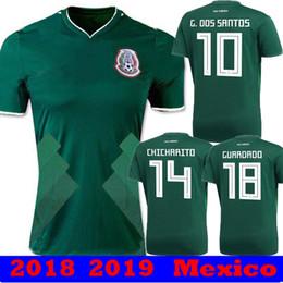 Wholesale Mexico Soccer World Cup Jersey - 2018 Mexico World Cup CHICHARITO HERRERA GUARDADO LOZANO Home Green 2019 Soccer Jerseys 18 19 camisetas MARQUEZ G DOS SANTOS HERRERA Shirts