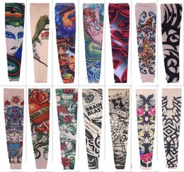 Wholesale Cool Sleeve Tattoos Men - Free DHL Popupar Pop Street Style Tattoo Sleeve Cool Rock Cycling Arm Warmers Fingerless Unisex Sleeve Mix 108 Styles L4