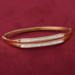 Wholesale Two Ring Linked Chain - Wholesale New Arrived Charm Stainless Steel Bracelet 18k gold plated two rows Crystal Bracelets&Bangles For Women Party Gift