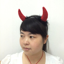 Wholesale Halloween Ghost Headbands - Cosplay red horns Ghost Party Masks party headband devil horn hair band Halloween party props Christmas party gift free shipping