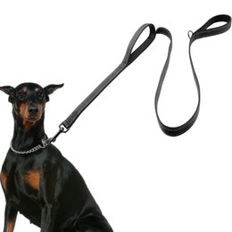 Wholesale Training Pads Dogs - Dog Leash 2 Handles Black Nylon Padded Double Handle Leash For Greater Control Safety Training Protect Dog In Traffic