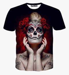 Wholesale Tattoo Tees - High Quality 2016 vintage sexy women 3d t shirt clothes print character tattoo rose flowers tshirt lady summer harajuku tee tops