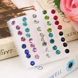 Wholesale Earrings Mix Color Hot Sale - Hot Selling 20 Pairs Set 5mm Mixed color Crystal Ear Studs Earrings Big Sale!