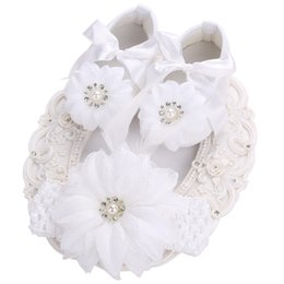 Wholesale girls baptism shoes - Wholesale- 2016 white Party christening baptism baby shoes girls Feather flower hair accessories set,infant girl shoes,toddler first walker