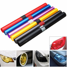 Wholesale Vehicle Decal Wraps - 30 x 100cm PVC Car Foil Film Auto Vehicle Tail light Headlight Wrap Sticker Decal Purple Blue Red Yellow Black Brown