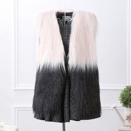 Wholesale Ladies Mink Vests - vest mink coat Black & White Hit Color Sleeveless Coat Woman Short Faux Fur Vests Women Covered Button Fake Fur Gilet Lady