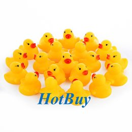 Wholesale Cute Boys Bath - Baby Kids Girl Rubber Boy Children Bath Toy Cute Rubber Squeaky Duck Ducky Yellow Color #3851