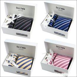 Wholesale W Cufflinks - Novelty Men Ties Sets Hanky Cufflink Clips w Gift Box Stripes Paisley Dots Ties Neckties Set Gravata Cortabata for men
