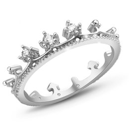 Wholesale Crown Fashion Rings - Elegant Queen's Silver Crown Ring For Women Punk New Brand Fashion Crystal Jewellery Lady Rings Femme Bijoux
