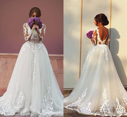 Wholesale Cheap One Sleeve Wedding Dresses - 2016 Spring Vintage Lace Wedding Dresses with Detachable Train Long Sleeves Backless Two in One Cheap Sexy Garden Beach Bridal Gowns